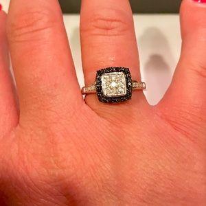 Jewelry - Genuine .52ctw Black & white diamond 925 ring